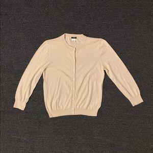J. Crew 3/4 Sleeve Button Beige Cardigan Medium